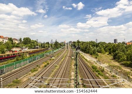 Berlin railway in summer. - stock photo