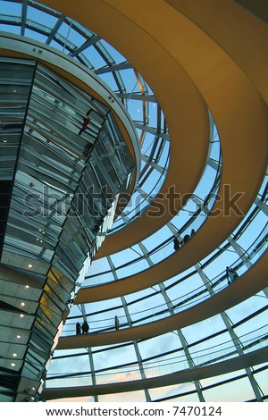 Berlin Reichstag, inside the glass dome 03 - stock photo