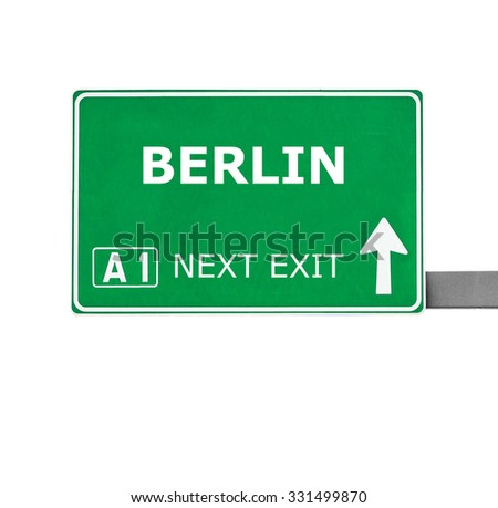 BERLIN road sign isolated on white
