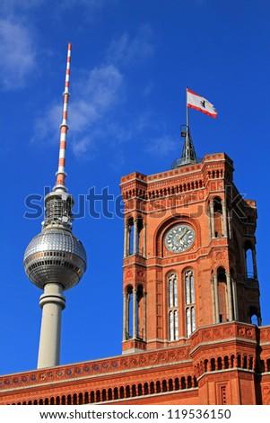 Berlin's Fernsehturm TV Tower and Rathaus (City Hall) - stock photo