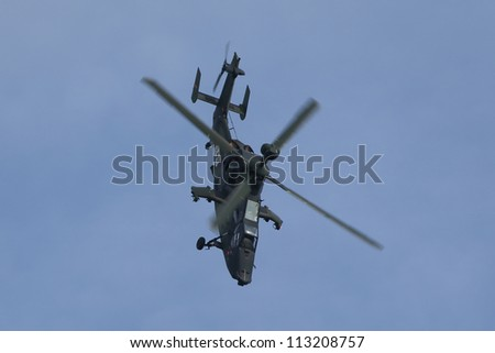 BERLIN - SEP 11: Military helicopter UH Tiger shown at ILA Berlin Air Show 2012 on September 11, 2012, Berlin, Germany.