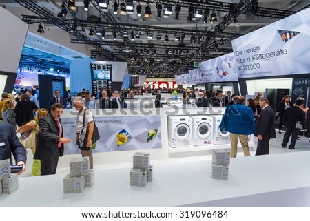 BERLIN - SEPTEMBER 04, 2015: Stand of manufacturer of household appliances Miele. International radio exhibition Berlin (IFA2015). - stock photo