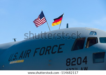 "BERLIN - SEPTEMBER 14: The front of the Boeing C-17 Globemaster, International Aerospace Exhibition ""ILA Berlin Air Show"", September 14, 2012 in Berlin, Germany"