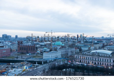 Berlin Skyline at dusk, Germany. - stock photo