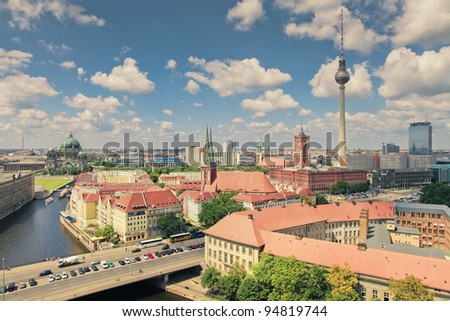 Berlin Skyline City, Capital of Germany in cloudy blue sky - stock photo