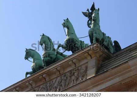 BERLIN: the Quadriga of the Brandenburg Gate at the Pariser Platz in the Mitte district of Berlin.