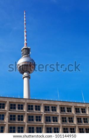 Berlin TV Tower from Alexanderplatz - stock photo