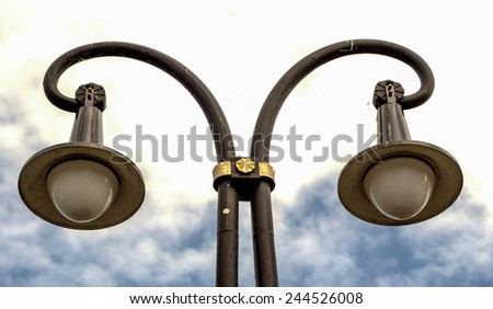 Berlin Typical Street Lamp in Germany - stock photo