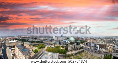 Berliner Dom and city buildings as seen from the air, Germany.