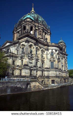 Berliner dom and reflection on Spree river in Berlin, Germany. - stock photo