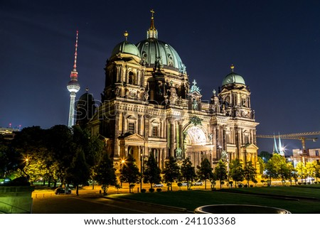 Berliner Dom in Berlin at summer nigth - stock photo