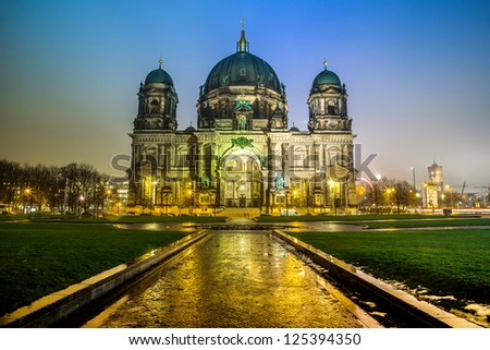 Berliner Dom, is the colloquial name for the Supreme Parish and Cathedral Church in Berlin. Is parish church of Evangelical Church of Berlin Brandenburg Silesian Upper Lusatia. - stock photo