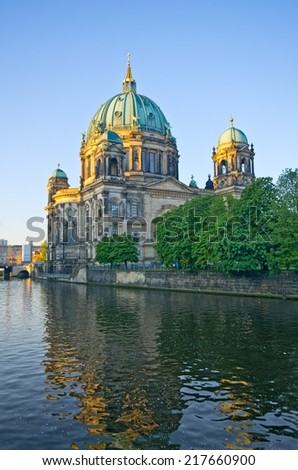 Berliner Dom over the Spree river - Germany - stock photo