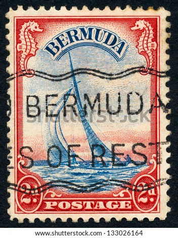 BERMUDA - CIRCA 1936: A stamp printed in Bermuda shows Yacht Lucie (Hippocampus sp.), circa 1936