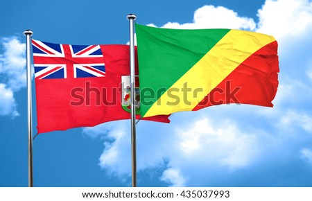 bermuda flag with congo flag, 3D rendering