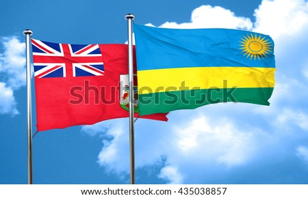bermuda flag with rwanda flag, 3D rendering