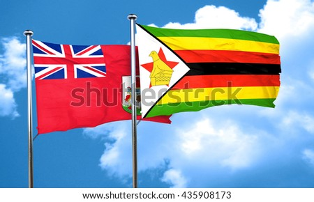 bermuda flag with Zimbabwe flag, 3D rendering
