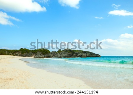 Bermuda Horseshoe Bay beach scene empty without any tourists. - stock photo