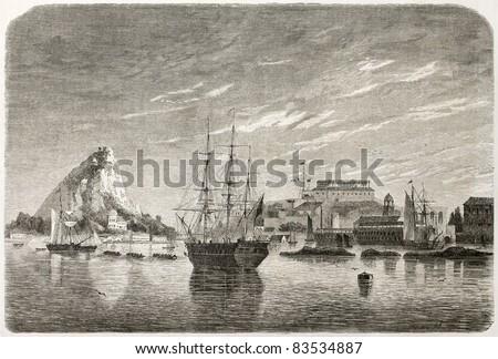 Bermuda old view. Created by De Berard, published on Le Tour du Monde, Paris, 1860 - stock photo