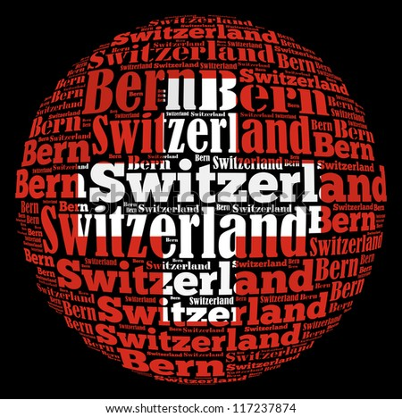 Bern capital city of Switzerland info-text graphics and arrangement concept on black background (word cloud) - stock photo