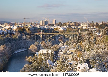 Bern city covered with fresh snow