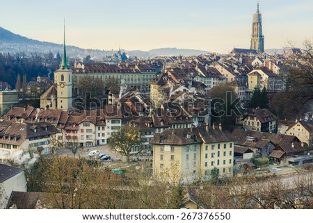 Bern historical center in morning, view from Aare shore