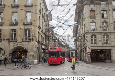 BERN, SWISS - JUN 1 : Streets in the old medieval city of Bern, Switzerland on June 1, 2016. In 1983 the historic old town in the centre of Bern became a UNESCO World Heritage Site.