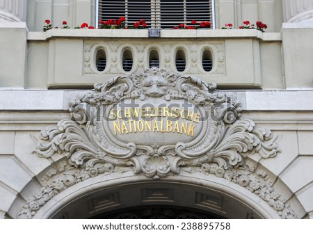 BERN, SWITZERLAND - AUGUST 18, 2013: the Swiss National Bank (SNB) which is the central bank of Switzerland, responsible for Swiss monetary policy. August 18, 2013, Bern, Switzerland. - stock photo
