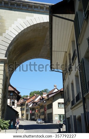 BERN, SWITZERLAND - CIRCA AUGUST 2015 Bridge and street  in Lower town