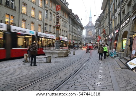 Bern Switzerland-DECEMBER 5, 2015: cityscape of Bern on Christmas time on December 5, 2015 in Bern, Switzerland. Prison tower in the background.