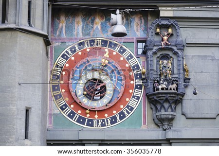 BERN, SWITZERLAND - DECEMBER 22, 2015: The dial of the Zytglogge's astronomical clock was refurbished in 1983, it is located on the East front of the Clock Tower (1191-1256) - stock photo