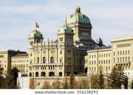 BERN, SWITZERLAND - DECEMBER 22, 2015: The Federal Palace, it is the seat of Federal Parliament (Swiss Federal Assembly), The Federal Council is housed here as well