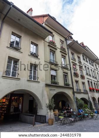 BERN, SWITZERLAND - OCT 24, 2014: The Einsteinhaus (Einstein House) is a museum and a former residence of Albert Einstein. It is located on Kramgasse No. 49 in Bern, Switzerland. - stock photo