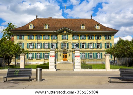 BERN, SWITZERLAND - SEPTEMBER 06, 2015: The cantonal Police headquarters (Kantonspolizei) in Bern is situated on Waisenhausplatz, formerly city orphanage  - stock photo