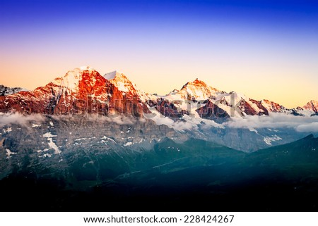 Bernese Oberland: Eiger, Monch and Jungfrau at sunset.