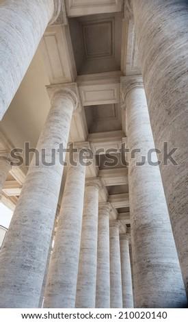 Bernini's colonnade at St. Peter's Basilica  - stock photo