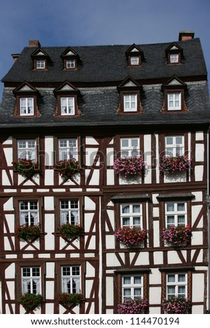 Bernkastel-Kues - town in Rhineland-Palatinate region of Germany. Old decorative house.