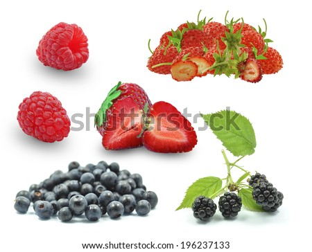 berries, blueberries, raspberries and wild strawberries on a white background