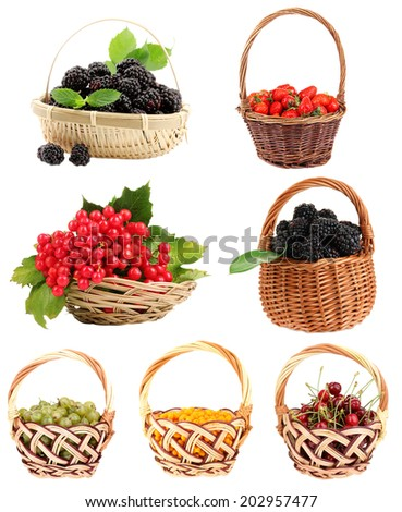 Berries collage isolated on white