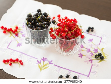Berries. Fresh ripe currant berries. Red currant. Black currant. - stock photo