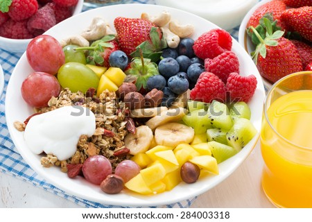berries, fruits, nuts and granola on the plate for a healthy breakfast, close-up, top view, horizontal - stock photo