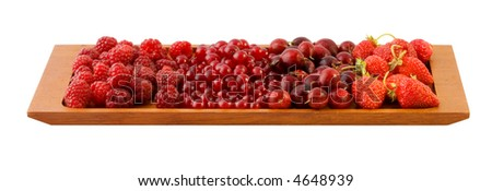 Berries in cup on white background with Clipping Path.