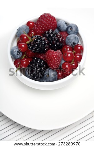 Berries in white cup - close-up