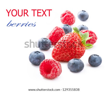 Berries isolated on White Background. Berry. Strawberry, raspberry, blueberry - stock photo