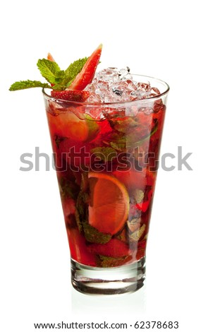 Berries Mojito with Energy Drink, Strawberry and Lime and Sweet Syrup. Nonalcoholic Beverage - stock photo