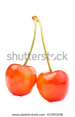 Berries ripe cherry on a white isolated background. Studio - stock photo