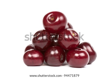 Berries ripe cherry on a white isolated background. Studio