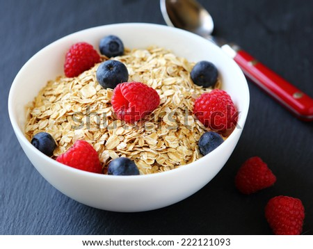 Berries with oatmeal, healthy food