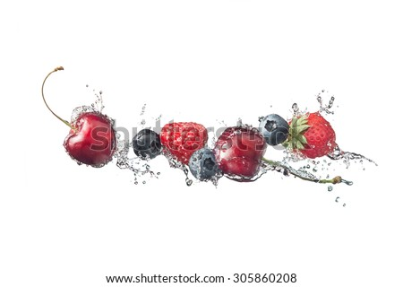 Berries with water splashes, isolated on white background - stock photo