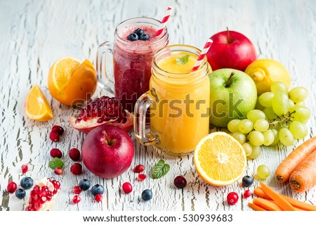 Berry and vegetables  smoothie, healthy juicy vitamin drink diet or vegan food concept, fresh vitamins, homemade refreshing fruit beverage